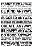Mother Teresa Anyway Quote Poster Plakater