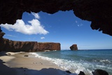 Pu'U Pehe Rock Viewed from Shark's Cove, Lanai, Hawaii Photographic Print by Ron Dahlquist