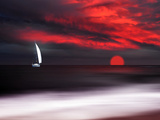 White sailboat and red sunset Metal Print by Philippe Sainte-Laudy