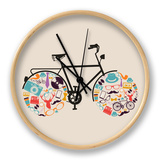 Vintage Hipsters Icons Bike Clock by  cienpies