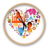 Heart With India Icons Uhr von  Marish