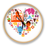 Heart With India Icons Clock by  Marish