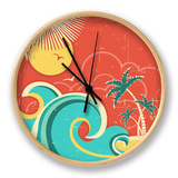 Vintage Tropical Poster With Island And Palms Clock by  GeraKTV