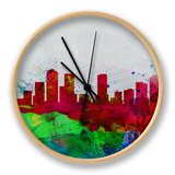 Denver Watercolor Skyline Clock by  NaxArt