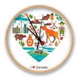 Canada Love - Heart With Many Icons And Illustrations Clock by  Marish