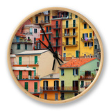Colourful Texture Of Manarola City Of Cinque Terre - Italy Clock by Blaz Kure