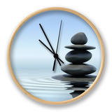 Zen Stones In Water Clock by  f9photos