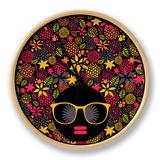 Black Head Woman With Strange Pattern Hair Clock by  panova
