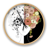 Woman Floral Silhouette Clock by  Rouz