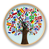 Flags Of The World Tree Clock by  cienpies