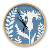 Small Blue Linen III Clock by Megan Meagher
