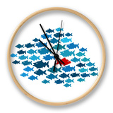 One Fish Swim In Opposite Direction, Dare To Be Different Concept Clock by  mypokcik