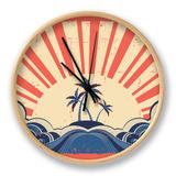 Paradise Island On Grunge Paper Background With Sun Clock by  GeraKTV