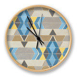 Blue and Yellow Geometry II Clock by Megan Meagher