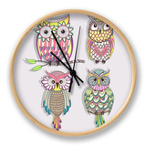Set Of Cute Colorful Owls Clock by cherry blossom girl