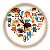 Heart Shape With Germany Icons Clock by  Marish