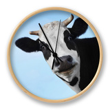 Funny Smiling Black And White Cow On Blue Clear Background Clock by Dudarev Mikhail
