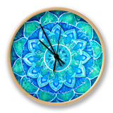 Abstract Blue Painted Picture with Circle Pattern, Mandala of Vishuddha Chakra Clock by  shooarts
