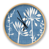 Small Blue Linen IV Clock by Megan Meagher