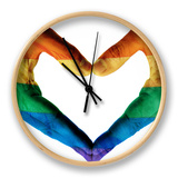 Man Hands Painted As The Rainbow Flag Forming A Heart, Symbolizing Gay Love Clock by  nito