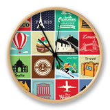 Set Of Vintage Retro Vacation And Travel Label Cards And Symbols Horloge par  Catherinecml