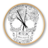 Skull From Flowers Clock by cherry blossom girl