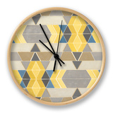 Blue and Yellow Geometry I Clock by Megan Meagher