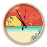 Vintage Nature Tropical Seascape Background With Island And Palms Decoration On Old Paper Poster Clock by  GeraKTV