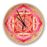 Abstract Red Painted Picture With Circle Pattern, Mandala Of Muladhara Chakra Clock by  shooarts