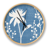 Small Blue Linen I Clock by Megan Meagher