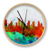 Houston Watercolor Skyline Clock by  NaxArt