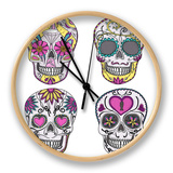 Mexican Skull Set. Colorful Skulls With Flower And Heart Ornamens. Sugar Skulls Clock by cherry blossom girl
