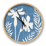 Small Blue Linen II Clock by Megan Meagher