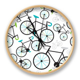 Seamless Fixed Gear Bicycle Illustration Pattern Clock by Maaike Boot