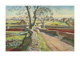 Cotswold Crossroads Premium Giclee Print by Adrian Allinson
