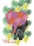 Jungle Elephant Giclee Print by Laure Girardin-Vissian