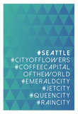 Hashtag City Seattle Posters