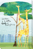 Help is Everything Giraffes Stretched Canvas Print by Maria Carluccio