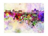 paulrommer - Rome Skyline in Watercolor Background - Art Print