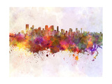 Calgary Skyline in Watercolor Background Art by  paulrommer