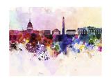 paulrommer - Washington Dc Skyline in Watercolor Background - Reprodüksiyon