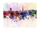 Washington Dc Skyline in Watercolor Background Prints by  paulrommer