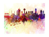 Ankara Skyline in Watercolor Background Posters by  paulrommer