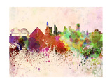 Memphis Skyline in Watercolor Background Print by  paulrommer
