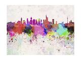 Frankfurt Skyline in Watercolor Background Prints by  paulrommer