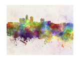 Des Moines Skyline in Watercolor Background Posters by  paulrommer