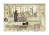 Flowers on the Windowsill, from 'A Home' Series Giclée-Premiumdruck von Carl Larsson