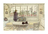 Flowers on the Windowsill, from 'A Home' Series Premium Giclee Print by Carl Larsson
