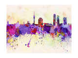 Munich Skyline in Watercolor Background Print by  paulrommer