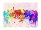 Miami Skyline in Watercolor Background Prints by  paulrommer